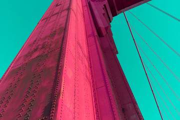 abstract vivid color of Golden Gate Bridge column structure.