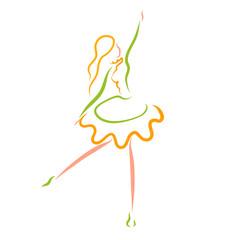 beautiful dancing girl, colorful pattern, young ballerina