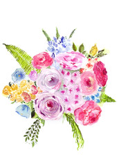 Watercolor hand drawn different flowers bouquet. Isolated floral illustration on white background.