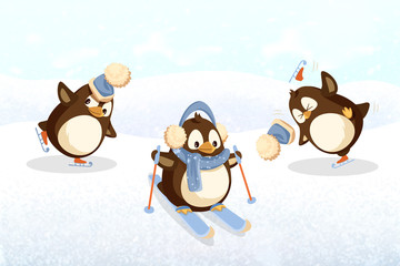 Penguins on skates and skis, outdoor activity. Christmas holiday, Arctic bird in hat with bubo and earmuff with scarf vector. Winter sport on snow and ice