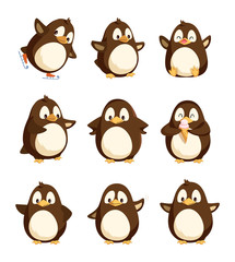 Penguin animal with wings and smooth feathers bird with beak vector. Set of happy winter character with good mood, cartoon from antarctic area seabirds