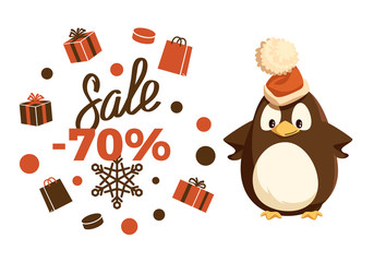 Merry Christmas sale 70 percent penguin animal vector. Clearance and special offer, present in boxes, giftbox in wrapping and snowflake ornaments