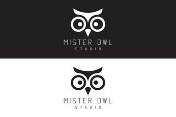 Acrylic Prints Owls cartoon Mister owl studio. Logo Design.