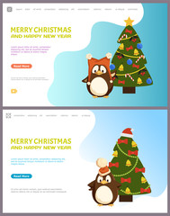 Merry Christmas happy New Year web pages online vector. Decorated pine tree with baubles and garlands, stars on top. Animal wearing knitted Santa hat