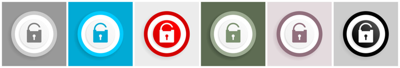 Padlock icon set, vector illustrations in 6 options for web design and mobile applications