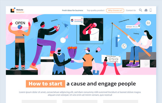How to start clause and engage people website with text sample vector. Male with bouquets of flowers giving to lady, manifestation table with signs, flat style