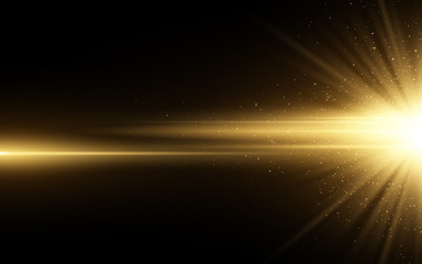 Wall Mural - Stylish golden light effect isolated on black background. Golden glitters. Glowing star with sparkles. Glowing line. Vector illustration