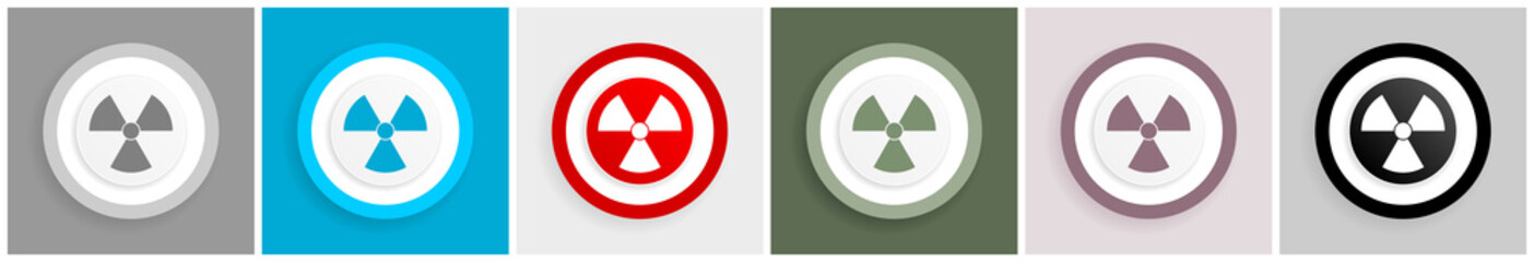 Radiation icon set, vector illustrations in 6 options for web design and mobile applications
