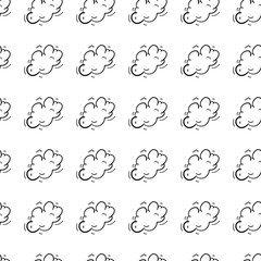 Hand drawn doodle seamless pattern a cloud of smoke icon. Black sketch. Sign symbol. Decoration element. Isolated on white background. Flat design. Vector illustration