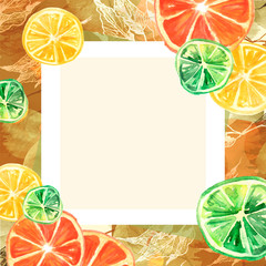 Watercolor invitation, composition, greeting card from orange pattern, tangerine, citrus slices,lime, branch, lemon branch, leaf, splash of paint. Stylish detail, hand-drawn. Abstract splash.