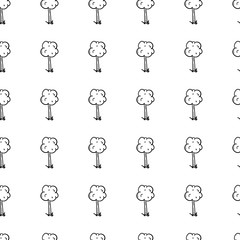 Hand drawn doodle seamless pattern tree icon. Black sketch. Sign symbol. Decoration element. Isolated on white background. Flat design. Vector illustration
