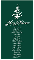 Green Merry Christmas Card all languages illustration 1