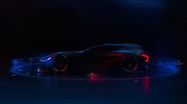 Futuristic hi tech sports car (3D Illustration)