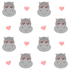 cute cartoon hippo with heart sunglasses seamless vector pattern background illustration