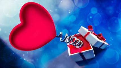 Fototapeta Walentynkowe serce na sprężynie z pudełkiem obraz