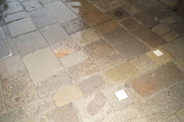 tile in the courtyard of venice during the rain