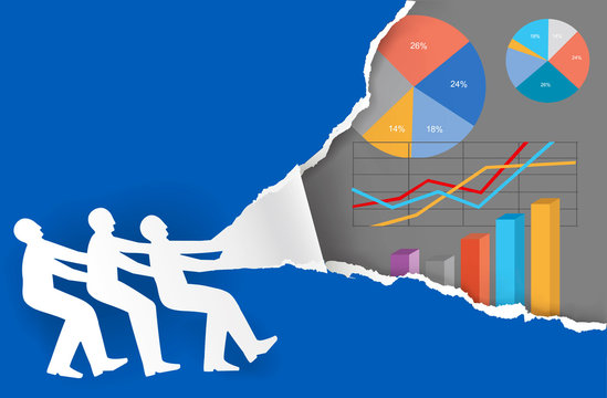 Work team Economic Results presentation. Three male silhouettes ripped blue paper backgroud with economy charts. Vector available.