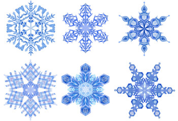 Watercolor blue snowflakes on white background. Hand painted illustration
