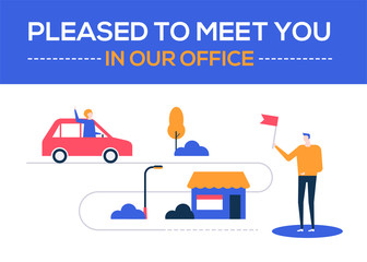 Pleased to meet you in our office - flat design style colorful illustration