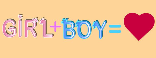 Girl plus boy - inscription in rainbow letters, lgtb concept