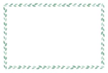 葉っぱのフレーム 水彩 緑色