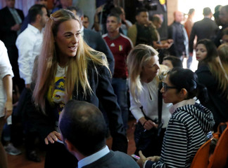 Lilian Tintori wife of Leopoldo Lopes attends a meeting with Venezuelan opposition leader and self-proclaimed interim president Juan Guaido and his supporters where he will present a government plan of the opposition in Caracas