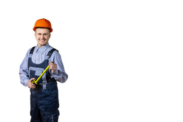 Builder engineer with a tape measure in the hands of. Smiling on an isolated white background.