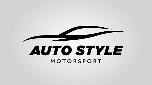 Abstract style auto sports car logo with concept vehicle icon silhouette
