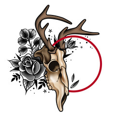 Decorative tattoo deer skull and roses with a round element