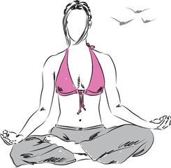 girl in yoga relaxing position illustration