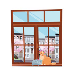 Spring view from the window. Closed brown wood window overlooking cityscape and blooming trees. Couple of cats in love on the windowsilll . Flat cartoon style vector illustration on white background