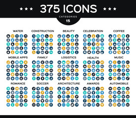 Collection of icons water, health, beauty, romance, family, construction, architecture...