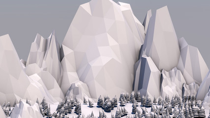 Low poly forest landscape. Illustration in light colors. Spruce forest and mountains. 3d render