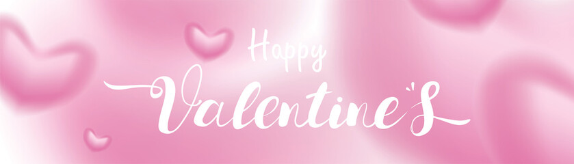 Valentine day 3D pink Romantic Hearts shape blurry flying and Floating on pastel background. symbols of love for Happy Women's, Mother's, Valentine's Day, birthday greeting card design banner