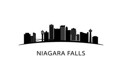 Niagara Falls city skyline. Black cityscape isolated on white background. Vector banner.