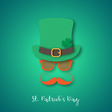 Irishman with ginger mustache wearing hat and glasses. Happy St. Patrick's Day banner in paper cut style. Vector illustration.
