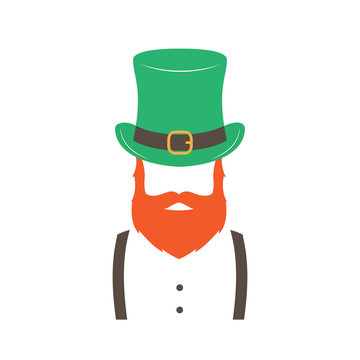 Stylish Irishman with ginger beard wearing hat. Happy St. Patrick's Day. Hipster emblem. Vector illustration.