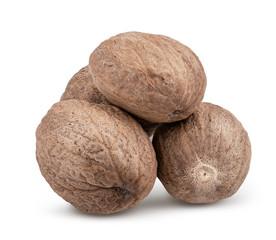 Fototapeta Dry nutmeg isolated on white background obraz