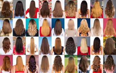 Сollage of different types of female hair