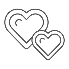 Live hearts thin line icon, love and like, heart sign, vector graphics, a linear pattern on a white background.