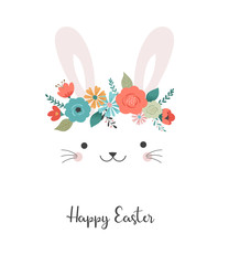 Happy Easter card - cute bunny with flower crown, vector illustration