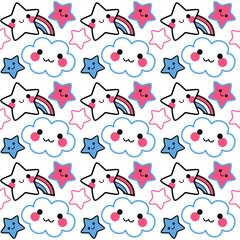 Cute kawaii vector stars background pattern