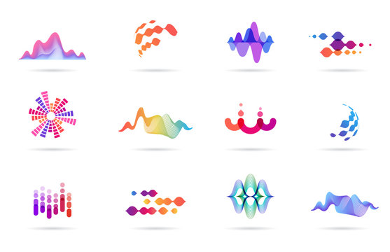 Sound wave, music, production logo and symbol collection, design icons