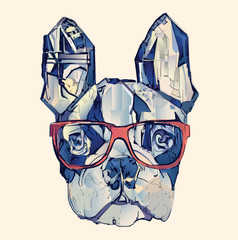 Tuinposter Art Studio French bulldog in blue