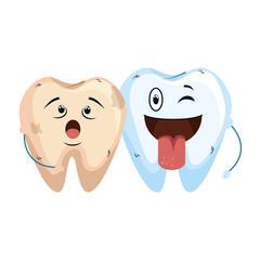 comic teeth couple kawaii characters