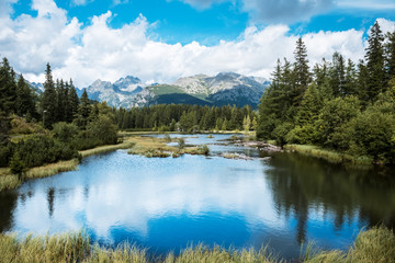 Mountain lake Nove Strbske pleso in National Park High Tatras, Slovakia