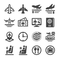plane and airport icon set,vector and illustration