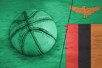 Flag of Zambia, backgrounds, textures, basketball ball