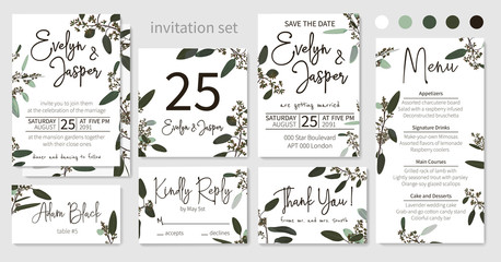 Set of wedding invitations, floral invitations, table, menu, thank you, rsvp card design. Blooming eucalyptus, dark green with long leaves botanical. Vector elegant watercolor rustic, template