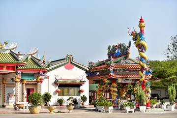 Decoration of rooftop.Chinese dragon statue on top of Chinese temple